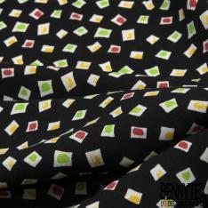 Fibrane Viscose Imprimé Motif carré blanc avec tâche jaune vert et brique Fond noir