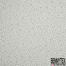 Fibrane Viscose Imprimé Motif coup de peinture blanc Fond gris perle