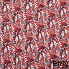 Fibrane Viscose Imprimé Motif feuille et perroquet bleu marine et blanc Fond rouge