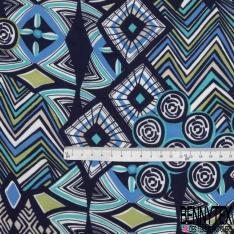 Fibrane Viscose Imprimé Motif forme géométrique nuance de bleu et vert pistache Fond bleu nuit