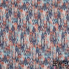 Fibrane Viscose Imprimé Motif chiné corail bleu ciel et marine Fond blanc