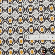 Fibrane Viscose Imprimé Motif wax moutarde gris perle et foncé Fond blanc