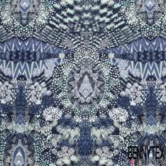 Fibrane Viscose Imprimé Motif tâches ronde ton bleu et blanc Fond bleu nuit