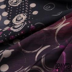 Fibrane Viscose Imprimé Motif multi ronds nude fuchsia Fond gris et nuance de violet