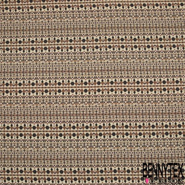 Fibrane Viscose Imprimé Motif ethnique losange noir et camel Fond beige
