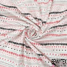 Jersey Coton Elastahanne Imprimé rayures coeur trait pois triangle rose noir et vert d'eau Fond blanc