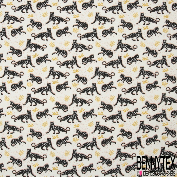 Jersey Coton Elastahanne Imprimé jaguar noir feuille moutarde et pois Fond blanc