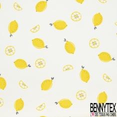 Jersey Coton Elastahanne Imprimé citron jaune et tige noir pailleté Fond blanc cassé