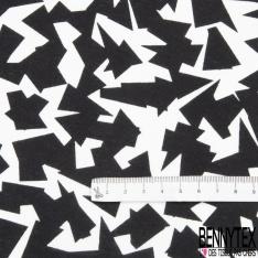 Jersey Coton Elastahanne Imprimé morceau noir Fond blanc