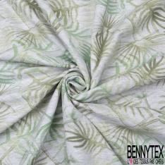 Molleton Jersey Imprimé feuillage ton vert Fond gris chiné