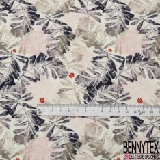 Molleton Jersey Imprimé fleur corail feuillage bleu nuit rose et kaki Fond crème