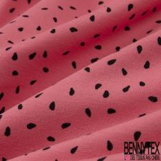 Molleton Jersey Imprimé tâche noir Fond fuchsia clair