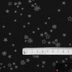 Jersey Viscose Imprimé Motif étoile et fleur gris anthracite Fond noir