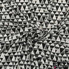 Jersey Viscose Imprimé Motif triangle noir et taupe Fond blanc