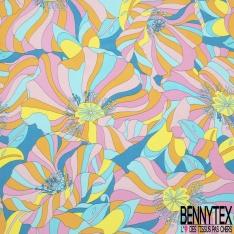 Crêpe Viscose Imprimé motif grande fleur amusante multicolore