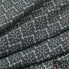 Crêpe Viscose Imprimé motif rosace blanche et pois bleu azur Fond gris foncé