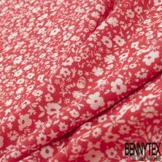 Crêpe Polyester Imprimé Motif fleur papillon étoile et tête de mort blanc Fond corail