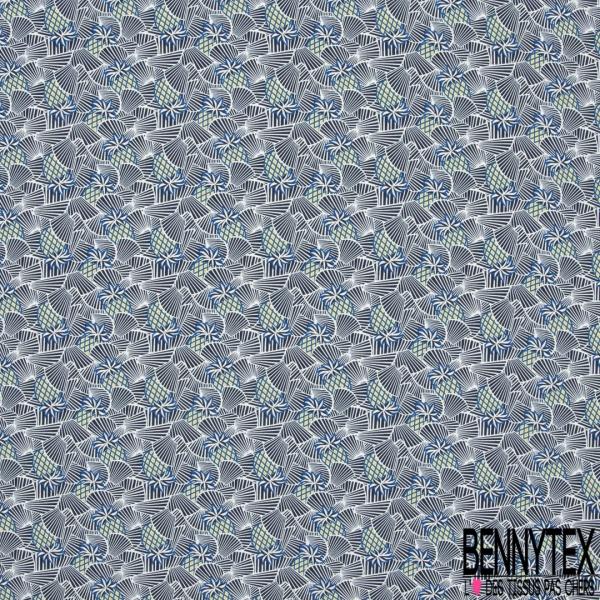Crêpe Polyester Imprimé Motif ananas moutarde et bleu roi et éventail rayé bleu et blanc