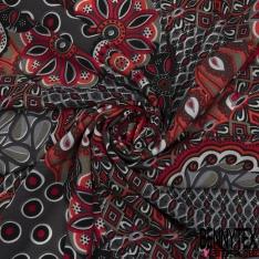 Crêpe Polyester Imprimé Motif rosace rouge corail et kaki Fond gris foncé