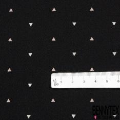 Crêpe Polyester Imprimé Motif triangle écru et vieux rose Fond noir