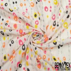 Fibrane Viscose Imprimé Motif rideau de perle souris à paillette rose et orange fluo vert caca d'oie Fond blanc cassé