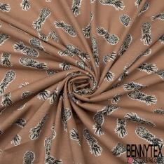 Jersey Coton Elastahanne Imprimé ananas noir blanc et doré Fond terracotta