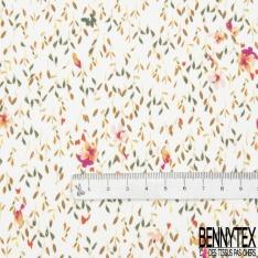 Satin de Coton Elasthanne Imprimé Motif roseaux vert et camel et fleur saumon Fond blanc