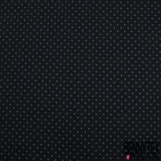 Popeline Coton Imprimé Motif petit pois gris anthracite Fond noir