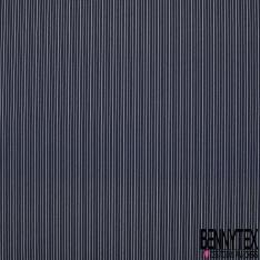 Popeline Coton Imprimé Motif rayure blanche Fond bleu marine
