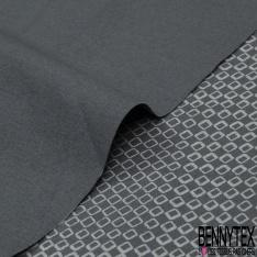 Popeline Coton Imprimé Motif carré gris perle Fond gris souris