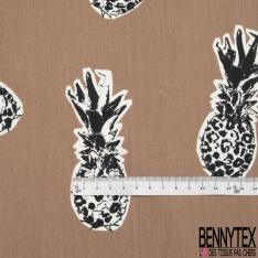 Popeline Coton Imprimé Motif ananas noir et blanc Fond beige foncé