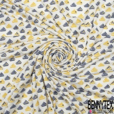 Jersey Viscose Imprimé Motif triangle à rayure jaune et bleu marine Fond blanc cassé