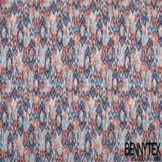 Jersey Viscose Imprimé Motif chiné corail bleu ciel et marine Fond blanc