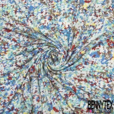 Jersey Viscose Imprimé Motif tâche multicolore Fond blanc