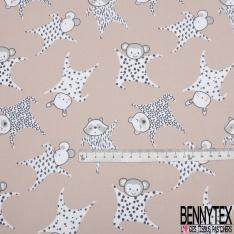 Coton Imprimé Motif doudou ours singe lapin souris blanc gris anthracite rose et taupe Fond chair rosé