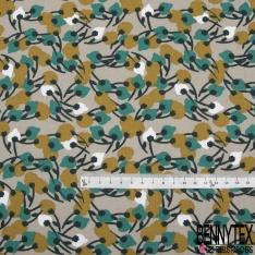 Coton Imprimé Motif arbre émeraude blanc et vert caca d'oie foncé Fond taupe