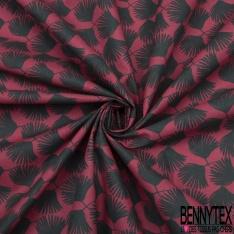 Coton Imprimé Motif feuille de palmier noir Fond lie de vin