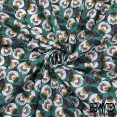 Coton Imprimé Motif fleur tulipe Fond turquoise