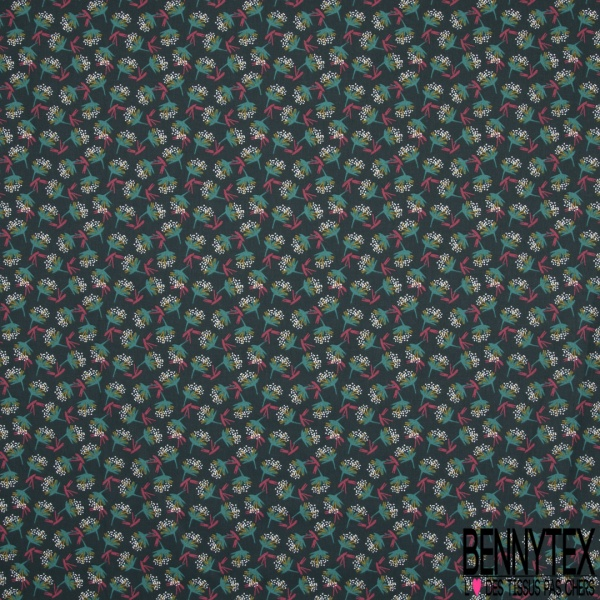Coton Imprimé Motif bouquet de feuille turquoise caca d'oie et lie de vin Fond vert épinard