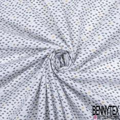 Coton Imprimé Motif buisson dorée gris anthracite et perle Fond blanc