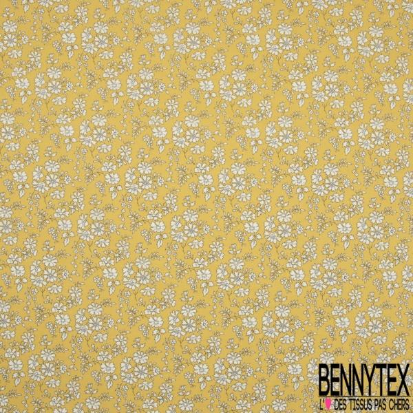 Coton imprimé Motif effet liberty fleur écru Fond jaune paille