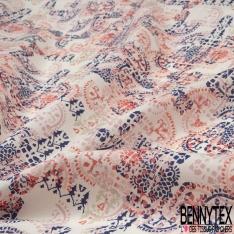 Coton imprimé Motif marocain ton rose et bleu marine Fond blanc cassé