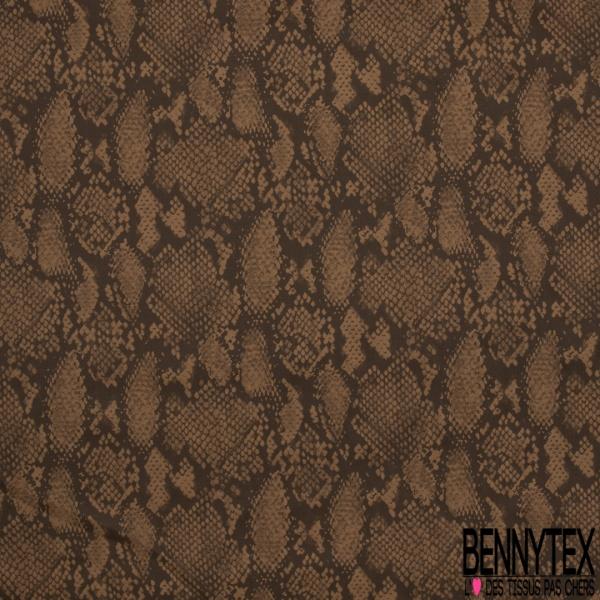 Satin de Coton Elasthanne Imprimé Motif croco camel foncé Fond marron