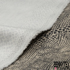 Satin de Coton Elasthanne Imprimé Motif serpent noir Fond taupe
