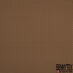 Satin de Coton Elasthanne Imprimé Motif carreau rayé gris anthracite Fond camel foncé