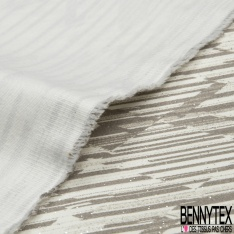 Satin de Coton Elasthanne Imprimé rayure décalée taupe Fond blanc cassé