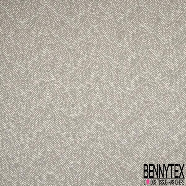 Satin de Coton Elasthanne Imprimé pailleté tâche blanche Fond taupe