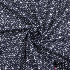 Satin de Coton Elasthanne Imprimé pailleté motif wax Fond marine