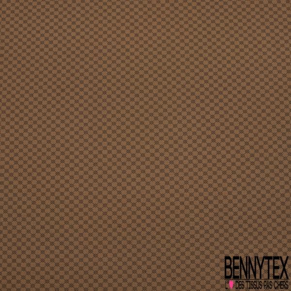 Satin de Coton Elasthanne Imprimé chaîne de carreaux Fond camel foncé