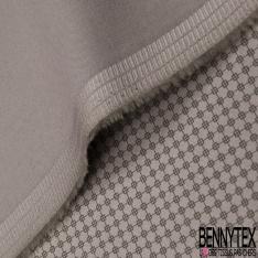 Satin de Coton Elasthanne Imprimé chaîne de carreaux Fond taupe